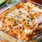 dish of Buffalo Chicken Dip with a cracker