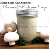 Homemade condensed cream of mushroom soup in jar