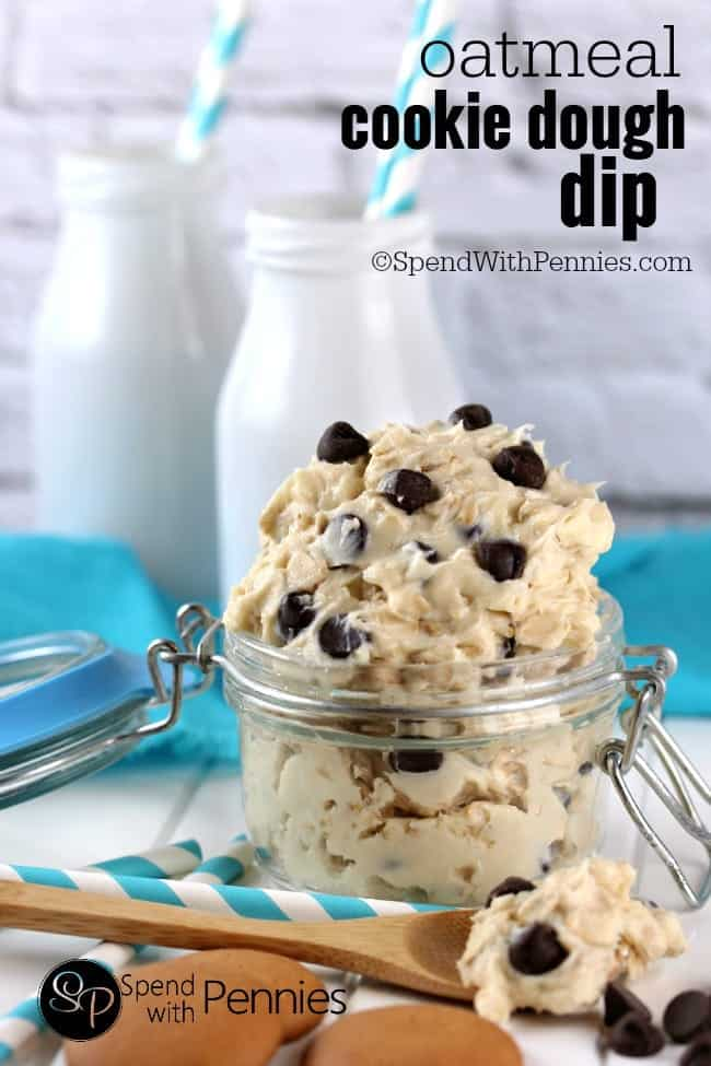 Oatmeal Cookie Dough Dip in a jar with milk bottles in the background