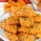 Dorito Chicken Tenders on a plate with parsley