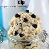 Eggless Oatmeal Cookie Dough Dip in a jar