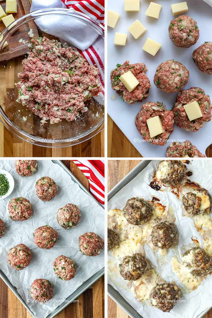 Four images showing the steps to prepare stuffed meatballs.