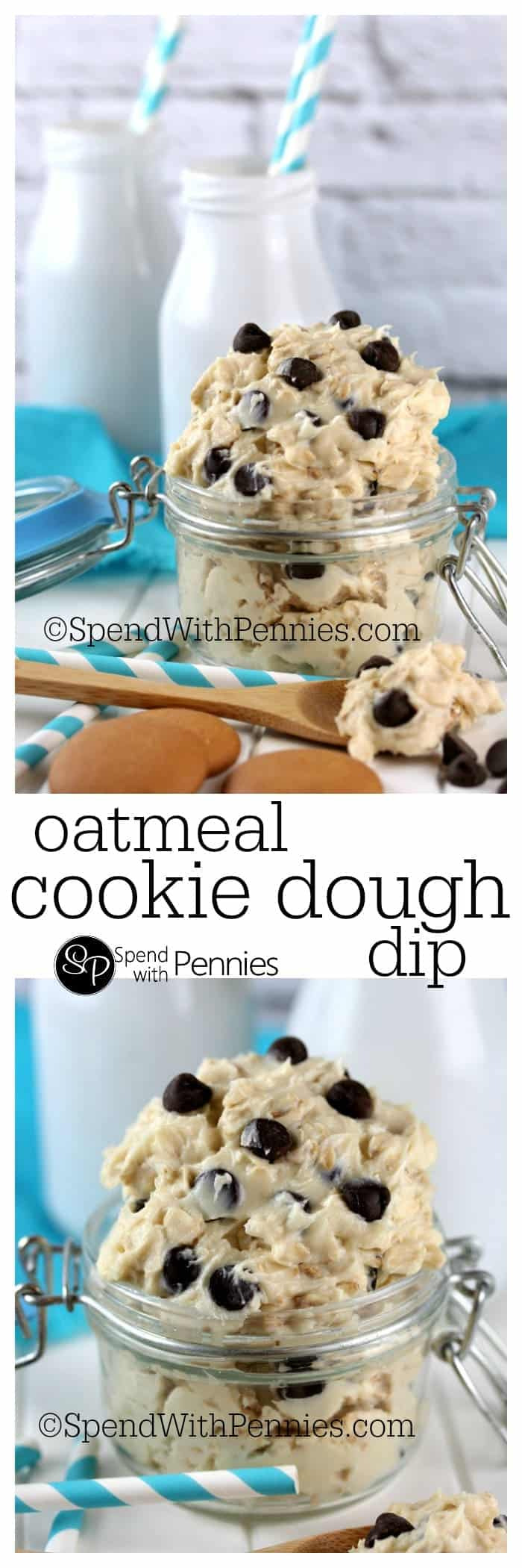 Oatmeal Cookie Dough Dip in a jar with milk bottles in the background, and a closeup of Oatmeal Cookie Dough Dip in a jar