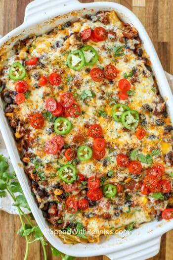Taco Lasagna in a baking pan