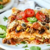 Taco Lasagna with beans and corn