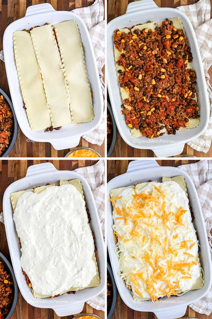 A four square image of the steps to prepare a taco lasagna.