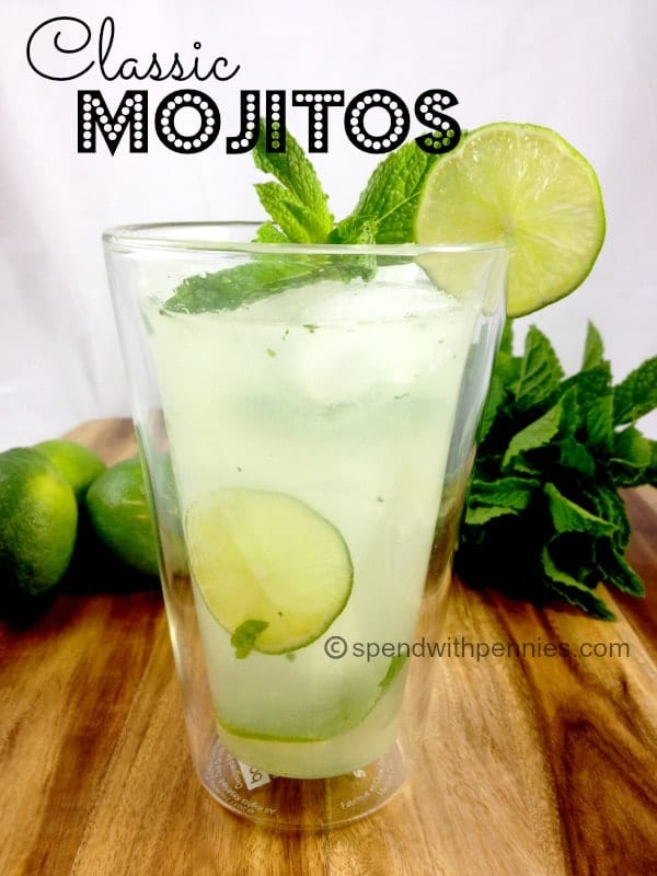 classic mojitos with mint and lime garnish