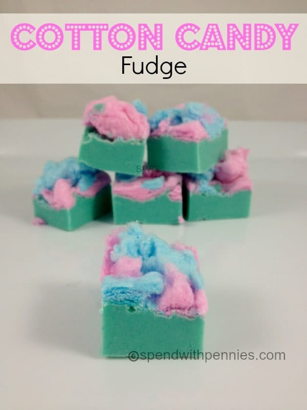 cotton candy fudge topped with cotton candy