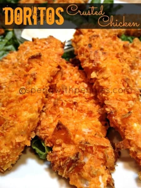 Doritos Crusted Chicken tenders is a fun twist on the usual chicken dish!  Any flavor of Doritos will work well, Nacho Cheese is my favorite!