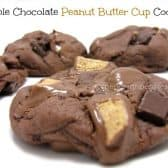 closeup of double chocolate peanut butter cup cookies