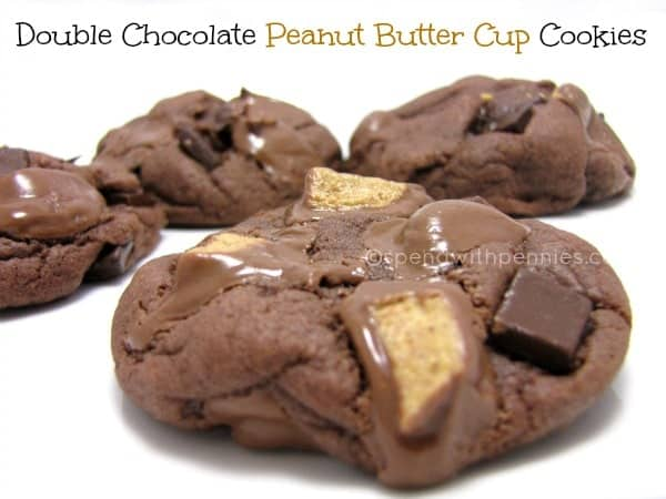 Double Chocolate Peanut Butter Cup Cookies - Spend With Pennies