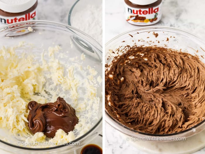 steps for making Nutella frosting