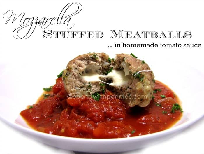 mozzarella stuffed meatballs in homemade tomato sauce