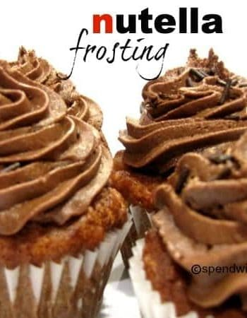 nutella frosting swirled on top of muffins