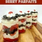 four white chocolate berry parfaits