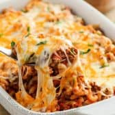 Cheesy Beef & Macaroni Casserole being served