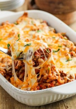 This Cheesy Beef & Macaroni Casserole is a easy to put together and it boasts big flavor!  We've made it about a million times and everyone in my family raves about it!
