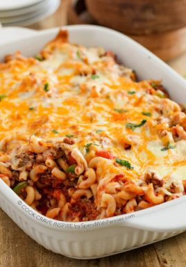 This Cheesy Beef & Macaroni Casserole is a easyto put together and it boasts big flavor! We've made it about a million times and everyone in my family raves about it!