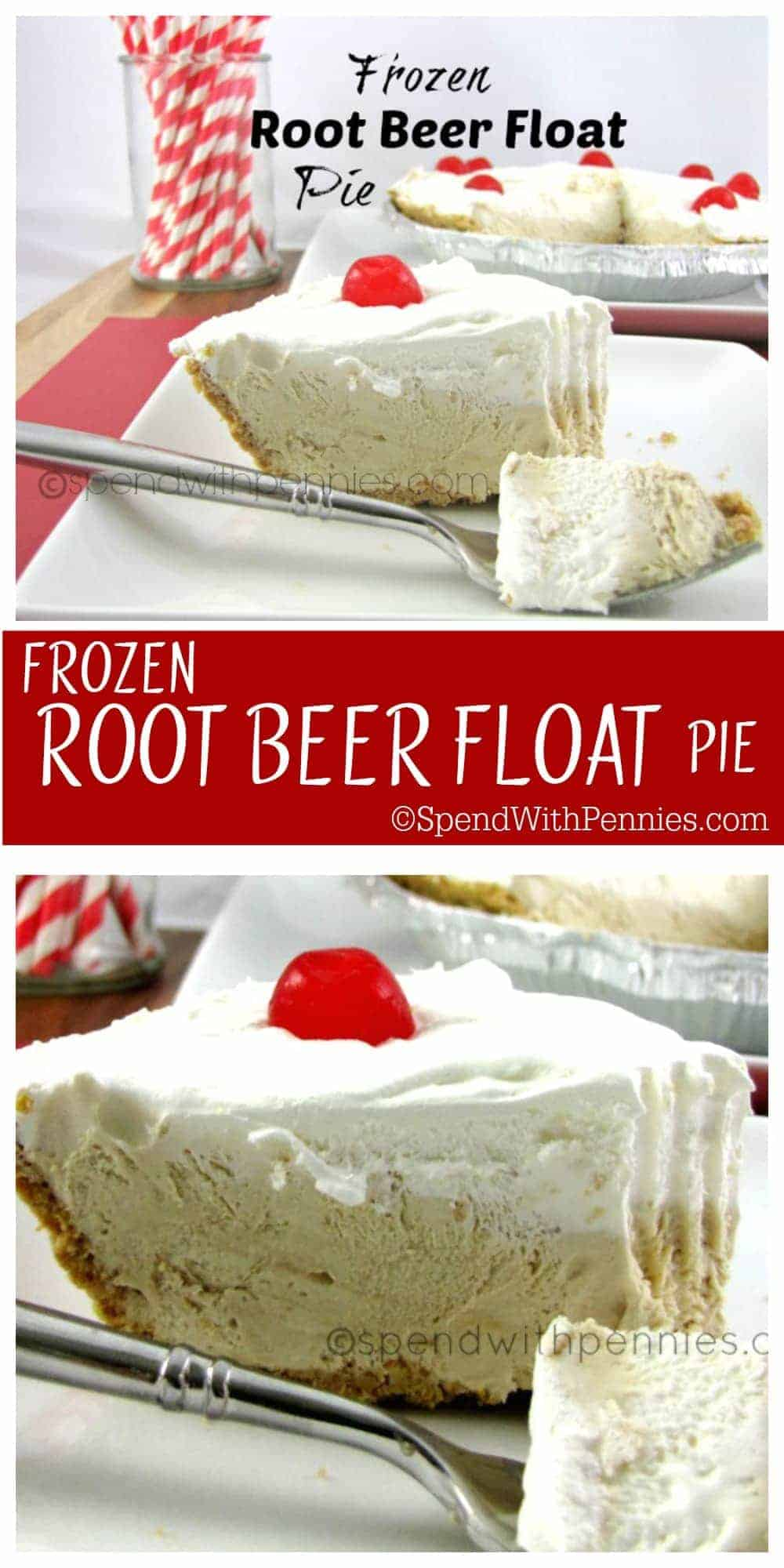 Frozen Root Beer Float Pie!  This easy pie is a summertime favorite!