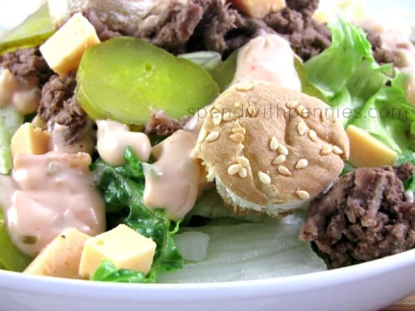 big Mac salad with pickles, cheese, lettuce, beef and bun croutons