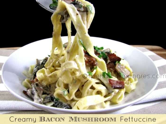 Creamy Bacon Mushroom Fettuccine - Spend With Pennies
