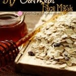 honey with server and oatmeal on a plate to make oatmeal face mask