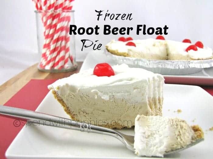 slice of frozen root beer float pie with a cherry on top and the pie in the background