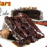slice of mars bar cake and a mars bar in the background
