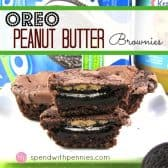 oreo peanut butter brownies with Oreos package and peanut butter in the background