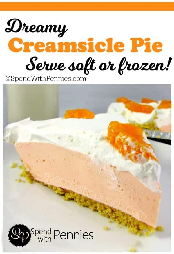 a slice f Creamsicle Pie topped with orange pieces