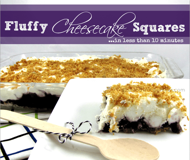 No Bake Fluffy Cheesecake Squares