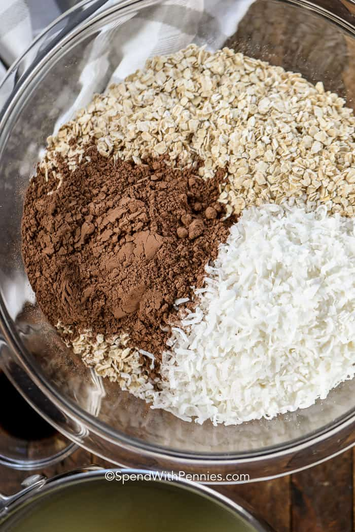 Ingredients for chocolate macaroons in a clear mixing bowl like oats, coconut, and cocoa powder.