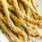 close up image of the tips of breaded asparagus