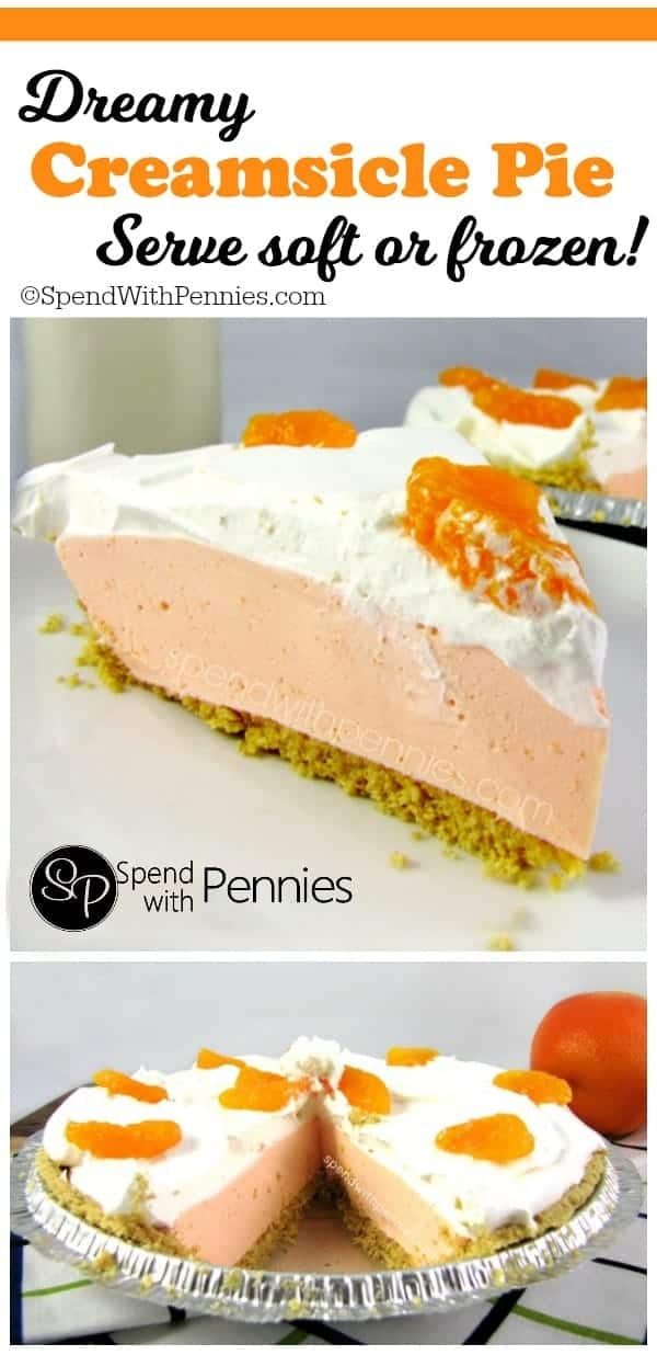 Creamy and delicious this Creamsicle Pie tastes like summer! You won't believe how easy this is to whip up! This can be served soft and fluffy or frozen for a cool summer treat!