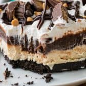 Peanut Butter Lasagna with chocolate sauce