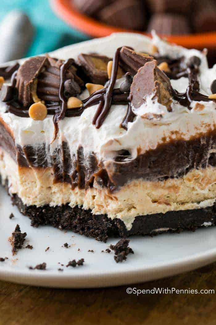 This was the first thing gone at our bbq this year! Peanut Butter Lasagna is a light and rich no bake dish with layers of chocolate, fluffy peanut butter and whipped topping all nestled on top of an Oreo cookie crust.