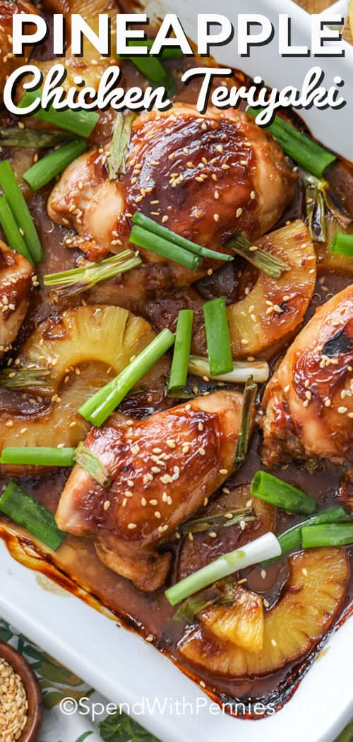 This easy homemade pineapple teriyaki chicken recipe is great grilled or baked. We love making teriyaki chicken breasts during the week! #spendwithpennies #teriyaki #pineappleteriyaki #chicken #teriyakichicken #pineappleteriyakichicken #grilledteriyakichicken