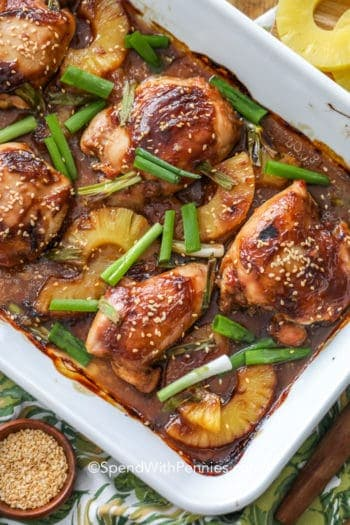 Overhead picture of Pineapple chicken teriyaki in a white baking dish