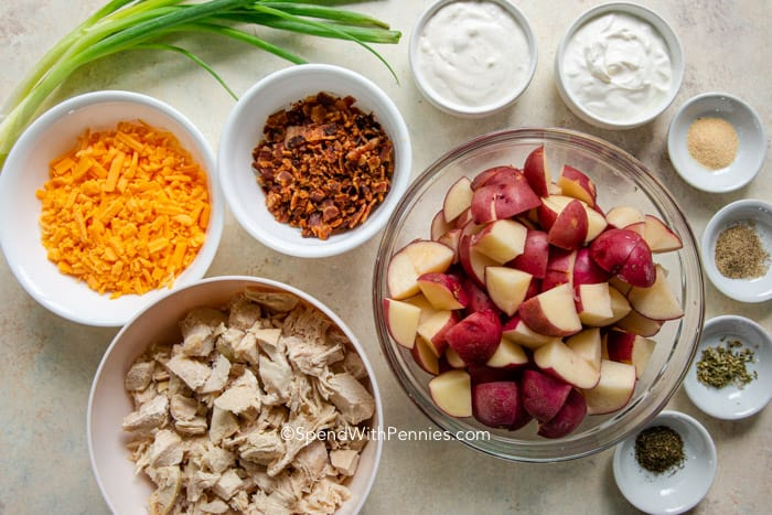 ingredients for a ranch chicken casserole in bowls