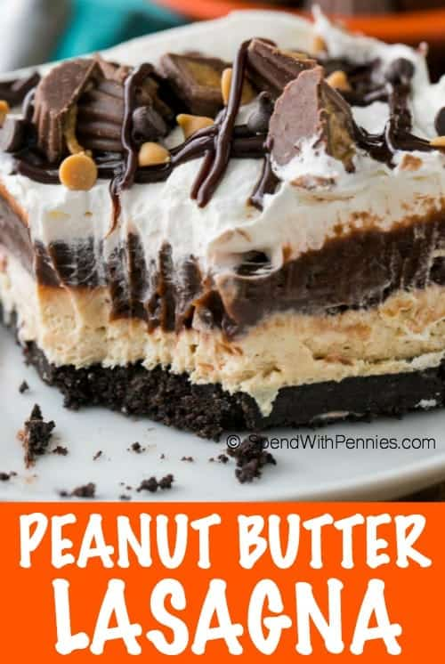 Peanut Butter Lasagna with writing