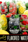 6 types of flavored waters in jars