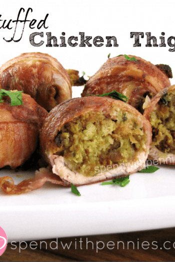 Stuffed Chicken Thighs wrapped with bacon