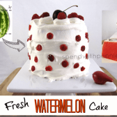 whole fresh watermelon cake with a watermelon, and a slice