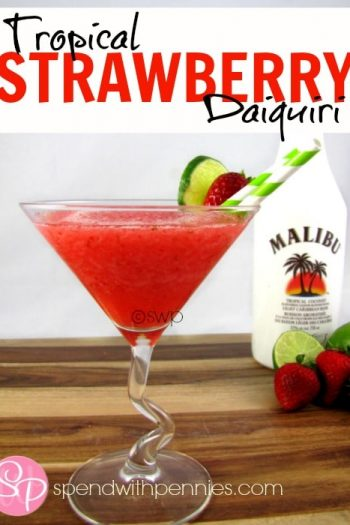 strawberry daiquiri with malibu rum in background