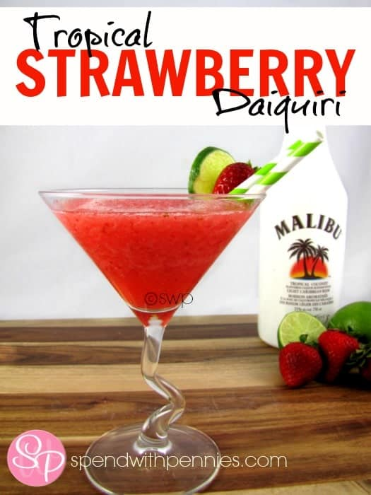 Refreshing Tropical Strawberry Daiquiri Spend With Pennies