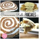 collage of steps to make cinnamon roll pancakes