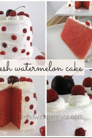 fresh watermelon cake collage with whole cake, piece of cake, inside and close-up of top of cake