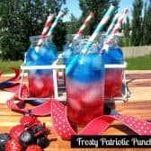 6 small bottles of frosty patriotic punch with red, which and blue drink in each
