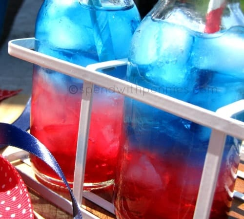 closeup of a red, white and blue drink