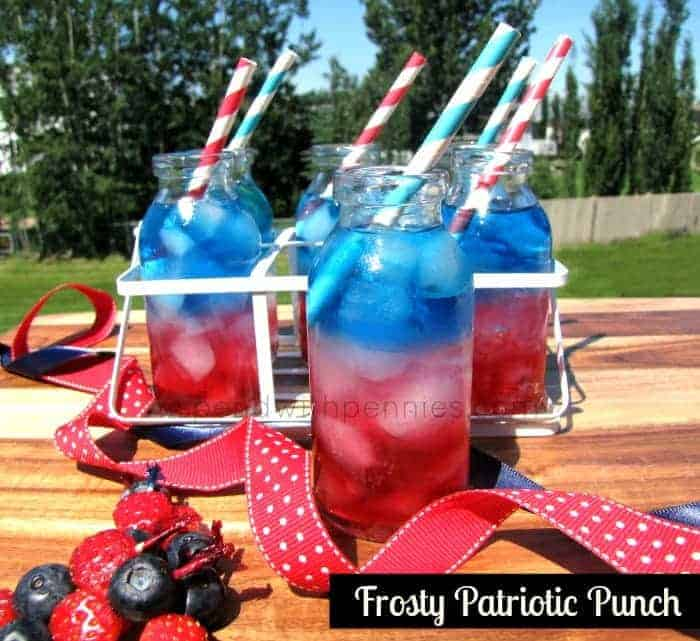 Frosty Patriotic Punch! Red, White And Blue Layered Drink